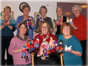 Eight knitters knitting