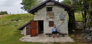 Alex at a Slovenian Bothy (or Bivak as they are known in that country)