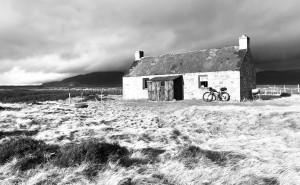 Alex's bike outside a highland bothy